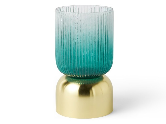 Small Ribbed Glass Lantern on Metal Stand, Blue