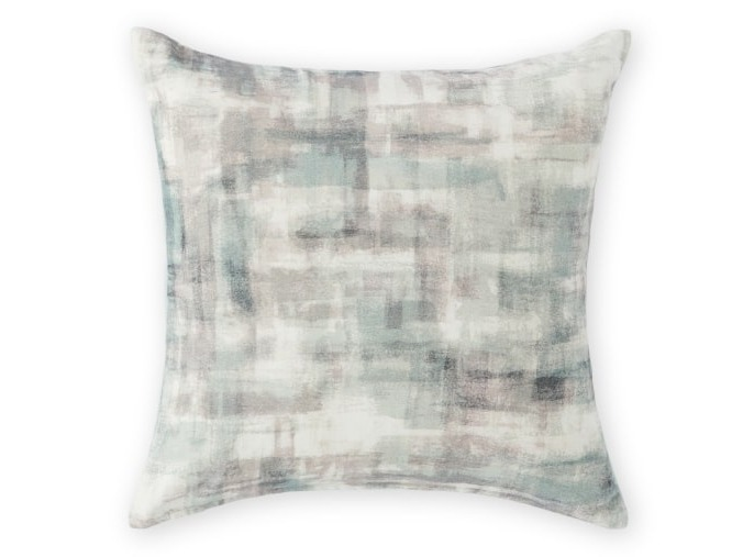 Sketch Velvet Cushion, 45x45cm/ Soft Grey & Green