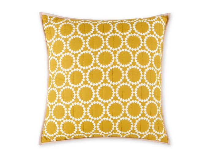 Cotton Reversible Cushion 60x60cm / Grey and Saffron Yellow