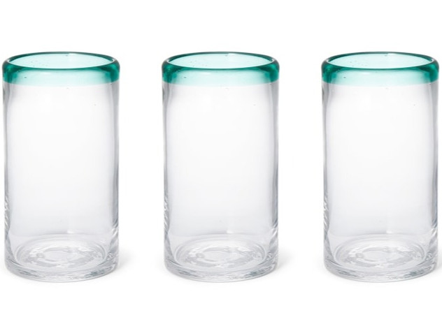 Set of 4 Green Rim Glass Highballs, Green & Clear
