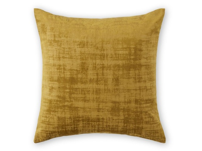 Set of 2 Distressed Velvet Cushions, 45 x 45cm, Dark Saffron Yellow