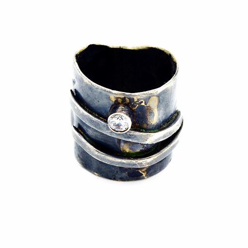 BLACKENED DOUBLE WRAP RING