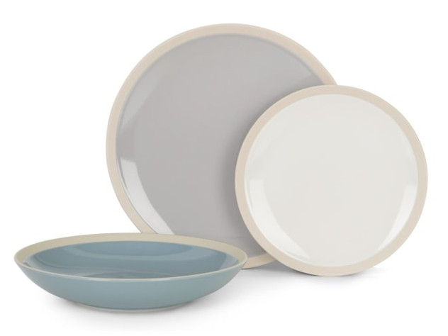 12 Piece Dinner Set, Pale Grey, White & Pale Blue
