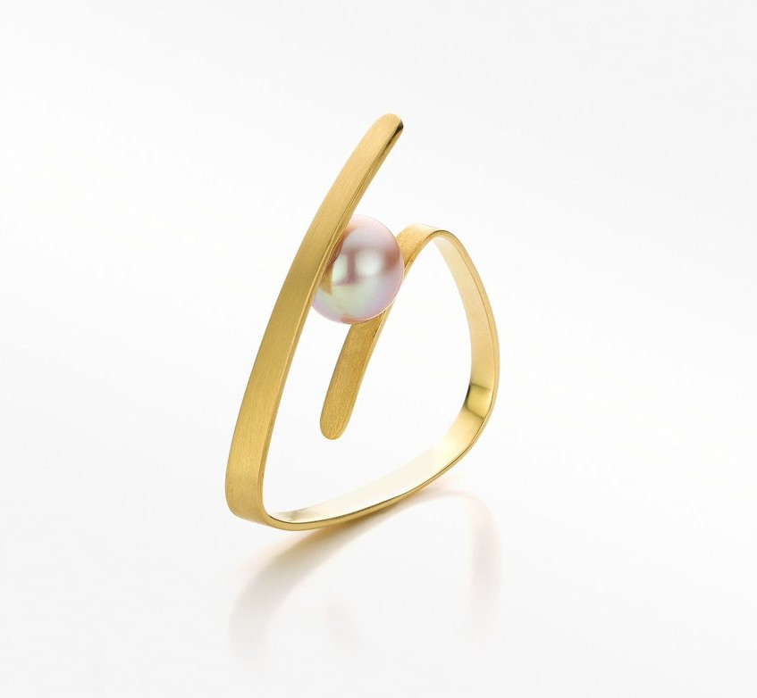 Pure line ring gold pink pearl