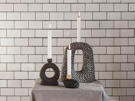 Ceramic candleholders by Malwina