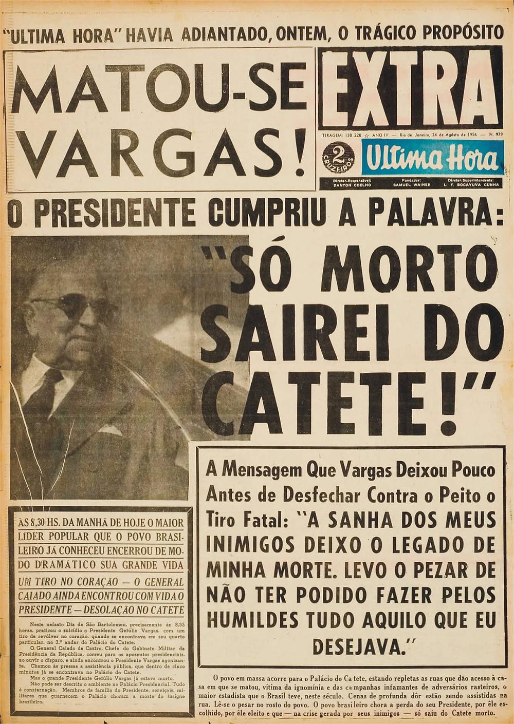 Manchete de jornal sobre a morte de Vargas