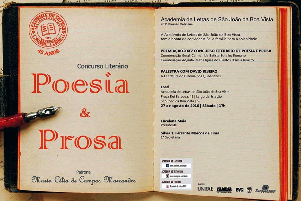 Convite para XXIV Concurso Prosa e Poesia
