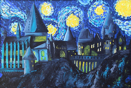 A combination of Hogwarts fan art and the Stary Night by Van Gogh