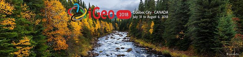 Le logo des Olympiades internationales de géographie de 2018 présentait une image d'un paysage boréal de la forêt Montmorency.