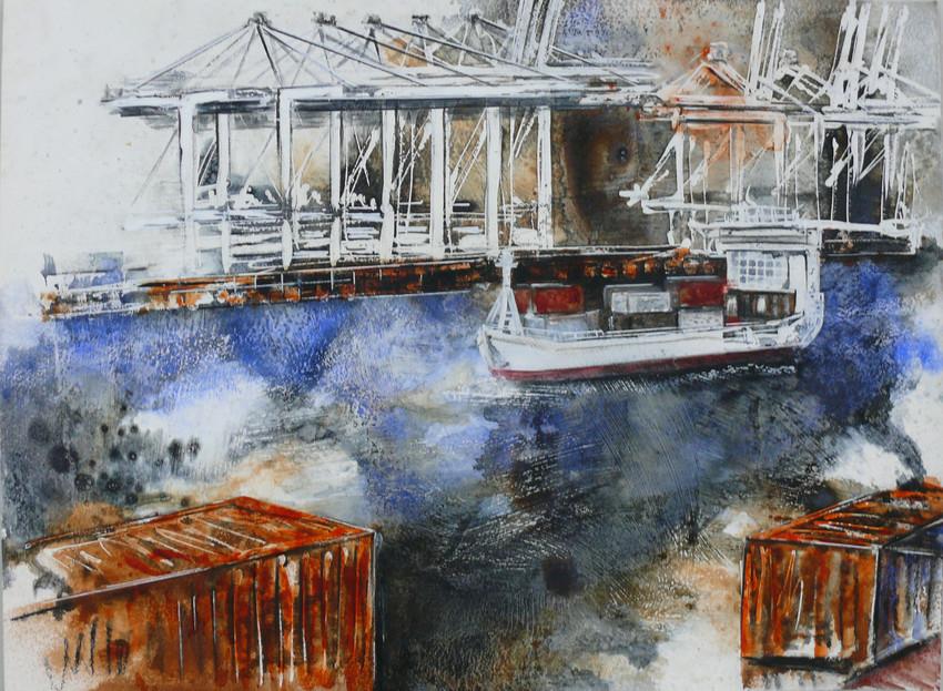 Hafen Aquarell III
