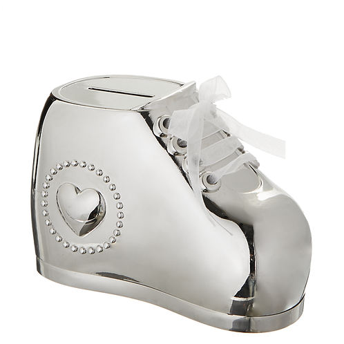 Silver-Plated Baby Bootie Bank