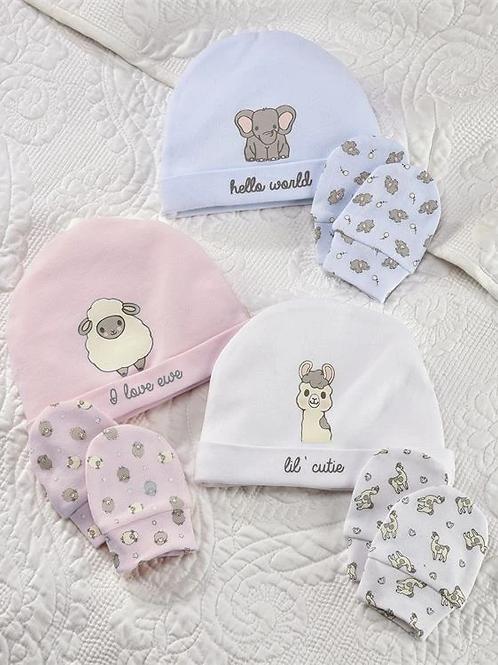 Lil´ Llama Cotton Baby Cap & Scratch Mittens