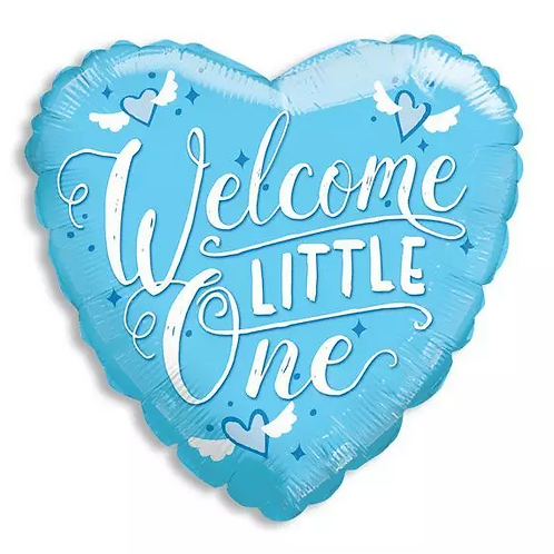Welcome Little One Blue Mylar Balloon