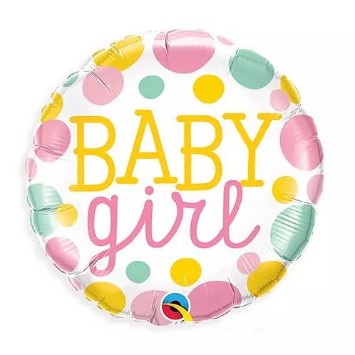Baby Girl Dots Mylar Balloon
