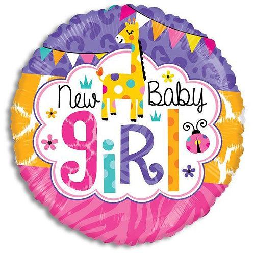 New Baby Girl Giraffe Mylar Balloon