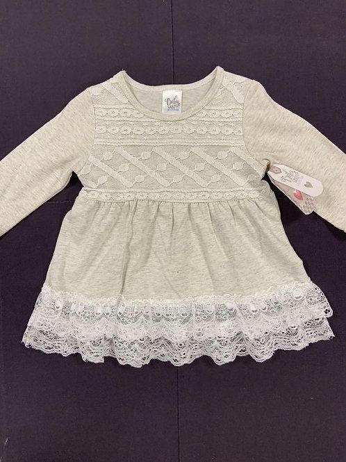 Grey Lace Cotton Knit Dress