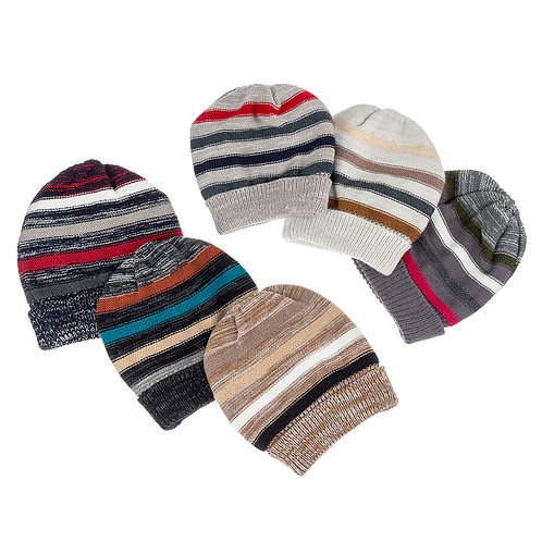 Unisex Striped Knit Hat