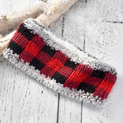 Sherpa Lined Red Plaid Headband