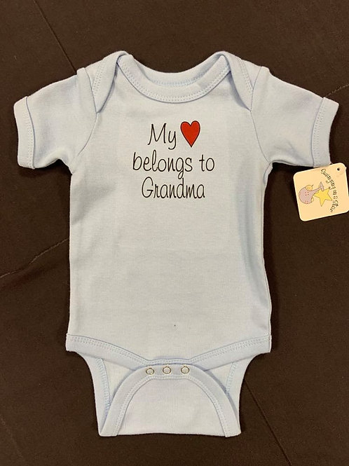 Blue Heart Belongs to Grandma Onesie