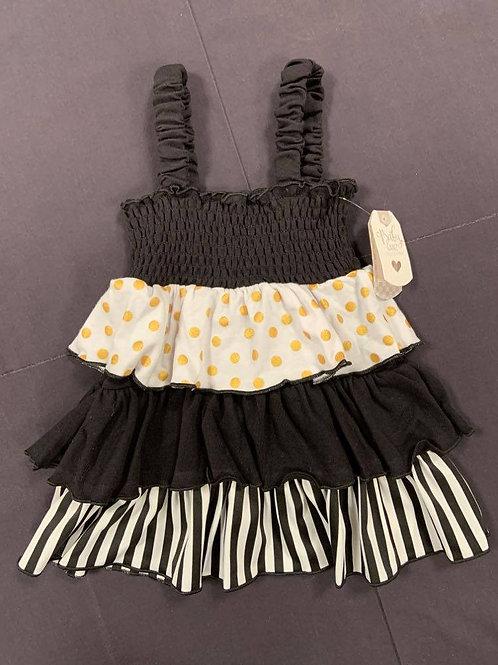 Black and Gold Ruffle Dress