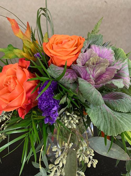 Rose and Kale Arrangement