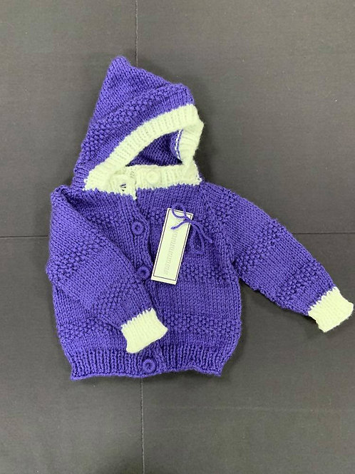 Knit Purple and White Sweater