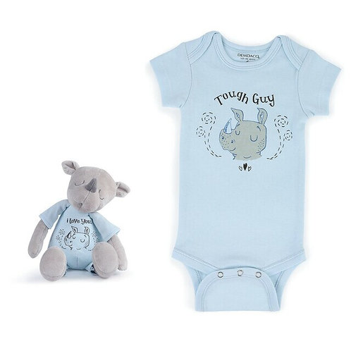 Tough Guy Rhino Snuggle Buddy Onesie and Plush Toy Set
