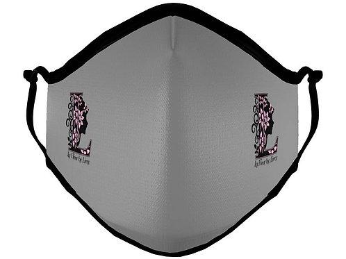 Custom Gray La Fleur Mask with logo on both sides