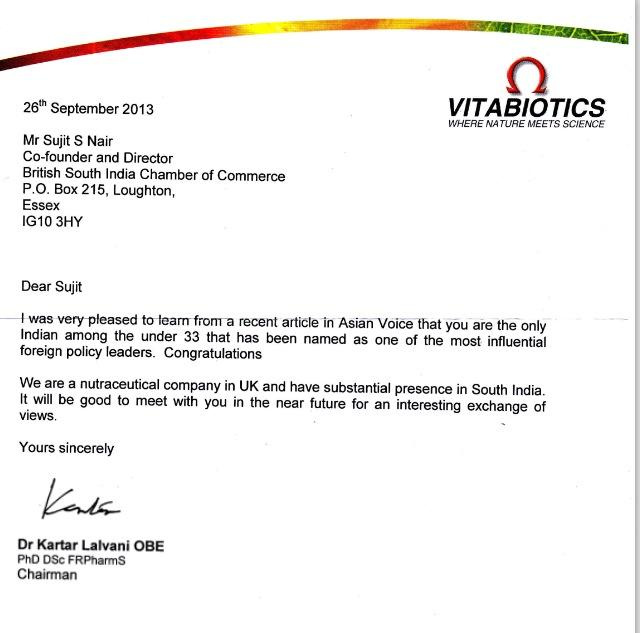 Letter from Chairman of Vitabiotics