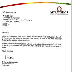 Letter from Chairman of Vitabiotics