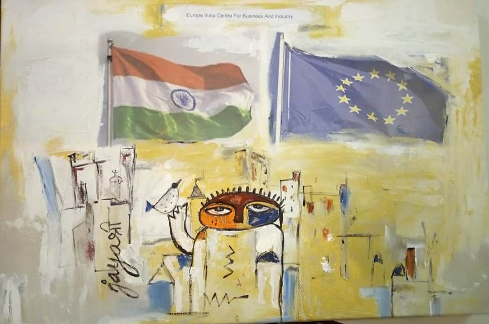 An abstract painting by Hyderabad based painter, Ms Jaya Baheti, commissioned as part of the summit which depicts EU India relations and friendship.