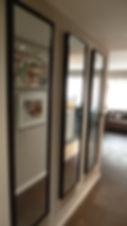 Joseph Vithaya, bon décorateur, Paris 14, 75014, Paris 11e, décoration d'un couloir, choix de mobilier, choix de couleurs, aider choix mobilier, aider choix couleurs, appartement, miroir, wengé, noir, beige