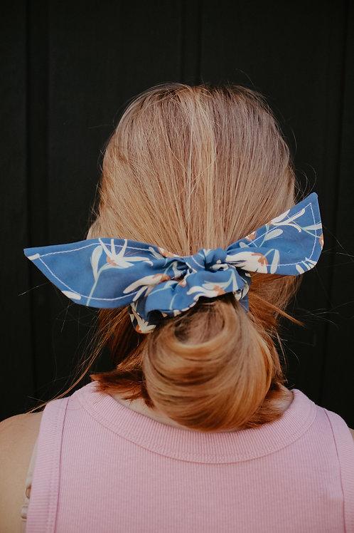Indigo Floral Scrunchie Bow