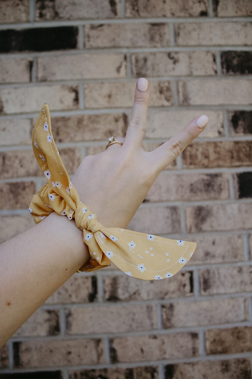 Yellow Floral Scrunchie Bow