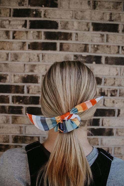Rainbow Stripe Scrunchie Bow