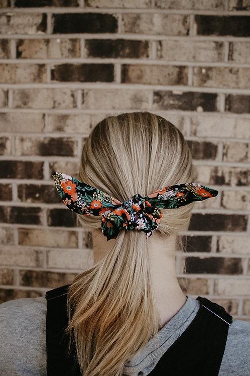 Black Floral Scrunchie Bow