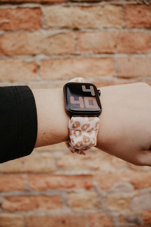 Tan Cheetah Scrunchie Apple Watchband