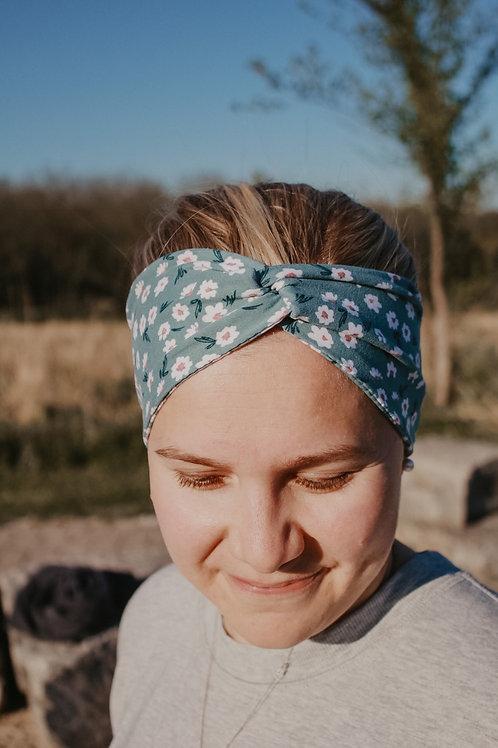 Teal Floral Wide Headband