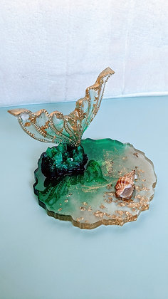 Green & Gold Mermaid's Tail resin phone stand