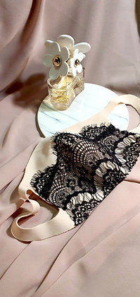 Beige with black lace mask