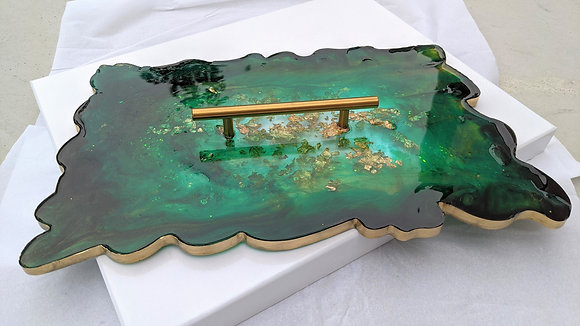 Emerald green & gold geode resin tray with single handle