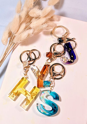 Alphabet Crystallite Bag Charm with Gold Leaves