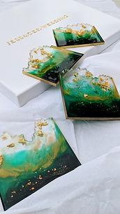 Emerald green & gold Coasters_4.jpg
