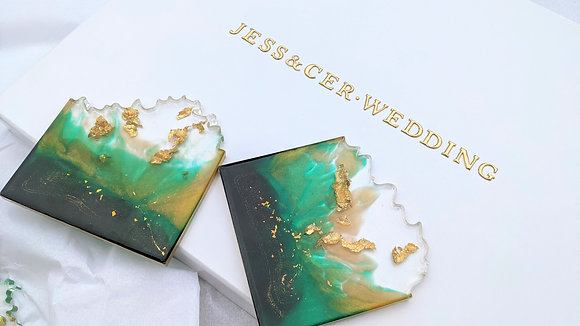 Emerald green & gold iceberg resin coasters