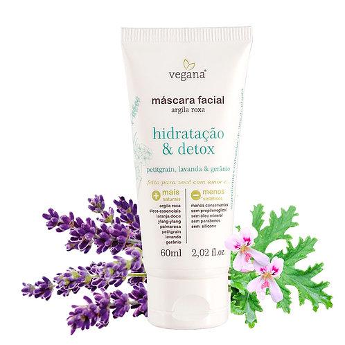 Argila máscara facial roxa hidratação e detox - Vegana 60ml