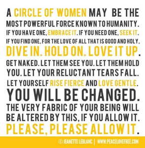 A word collage of phrases and words linked with women's circles and connection with other women