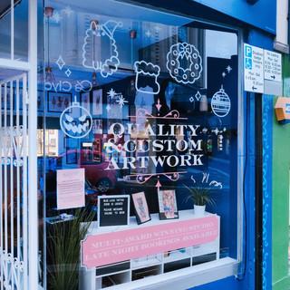 Hand painted shop Christmas windows