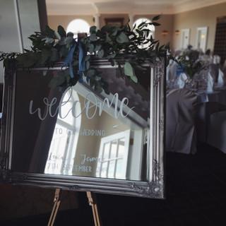 Hand painted wedding mirror