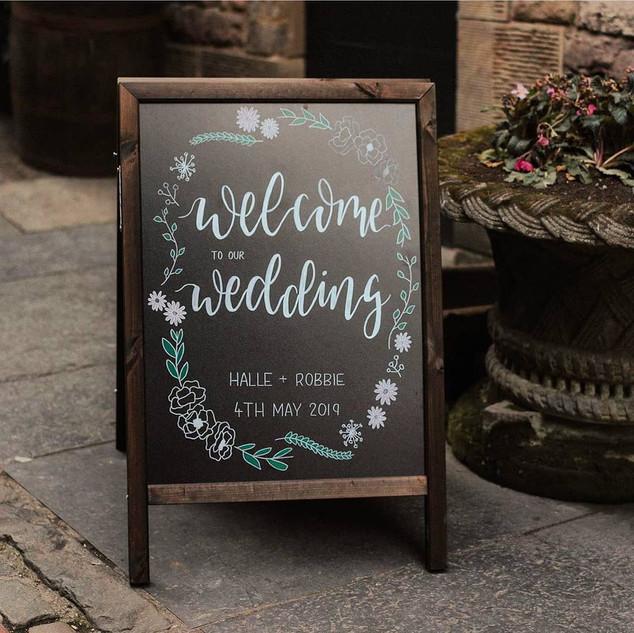 Handlettered wedding board