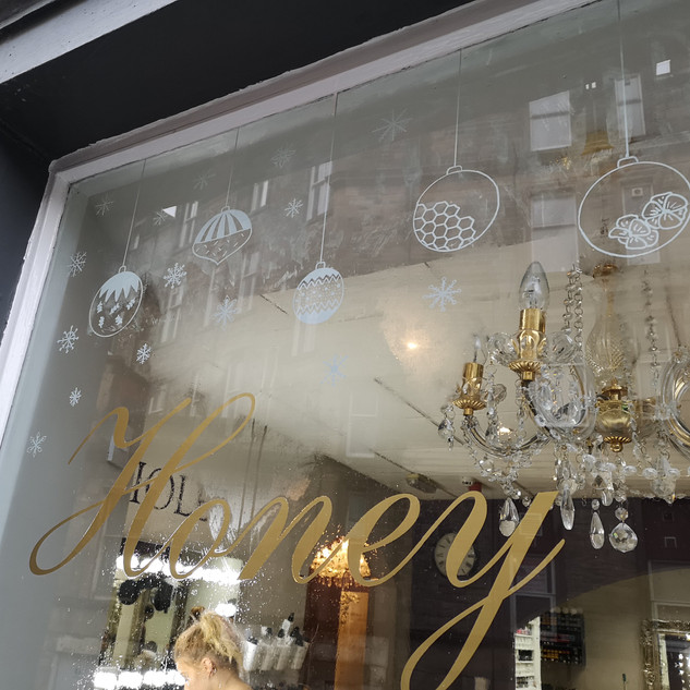 Handdrawn salon window